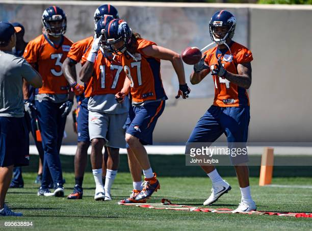 Denver Broncos wide receiver Cody Latimer catches a pass during mandatory mini camp on June 13 2017 in Denver Colorado at Dove Valley