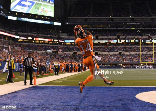 Denver Broncos wide receiver Cody Latimer goes up to haul in a two point conversion during the third quarter against the Indianapolis Colts on...