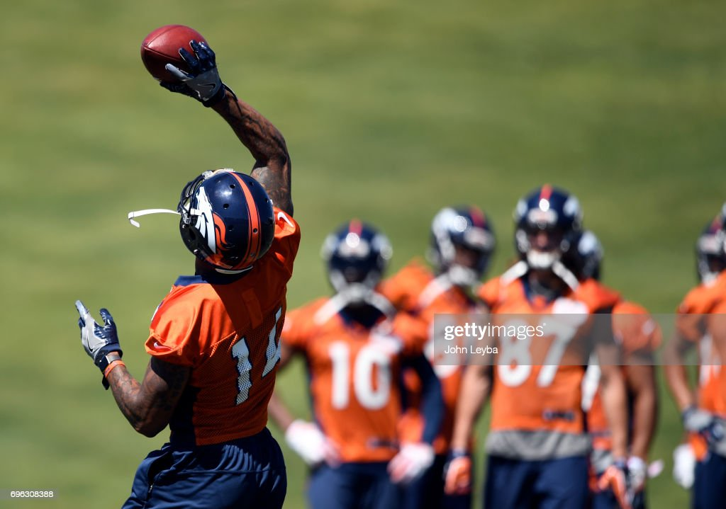 Denver Broncos wide receiver Cody Latimer (14) hauls down a one handed catch during practice at mandatory mini camp on June 15, 2017 in Englewood, Colorado at Dove Valley.