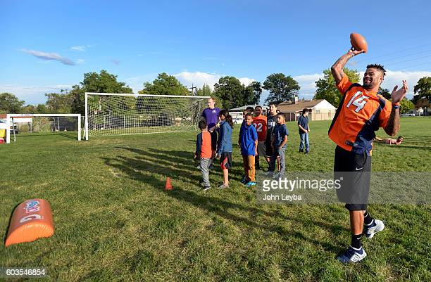 Denver Broncos wide receiver Cody Latimer throws a pass during the Fall 2016 NFL Play 60 Challenge The Denver Broncos launched their Fall 2016 NFL...