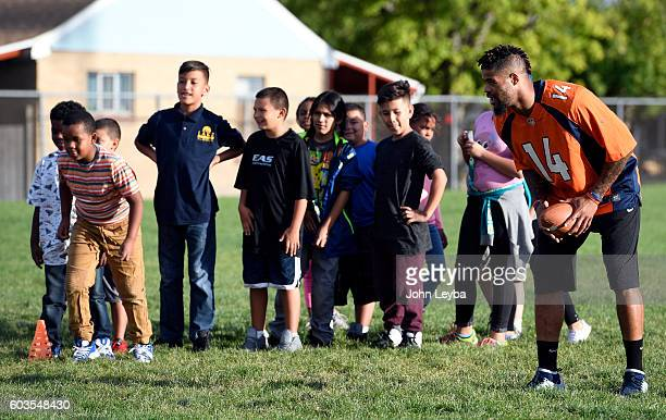 Denver Broncos wide receiver Cody Latimer works with the kids during the Fall 2016 NGL Play 60. The Denver Broncos launched their Fall 2016 NFL PLAY...