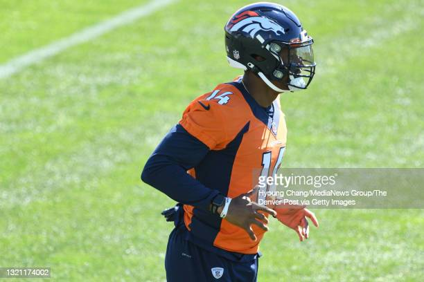 Denver Broncos wide receiver Courtland Sutton warms up for the team practice at UCHealth Training Center in Englewood, Colorado on Tuesday, June 1,...