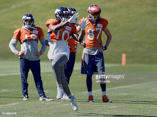Denver Broncos wide receiver Emmanuel Sanders catches a pass during practice October 20 2016 at Dove Valley as they prepare for the Houston Texans on...