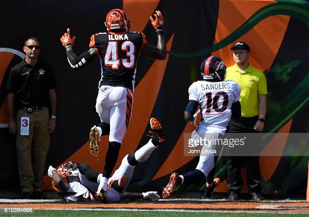 Denver Broncos wide receiver Emmanuel Sanders catches a touchdown pass on Cincinnati Bengals cornerback Adam Jones and Cincinnati Bengals free safety...