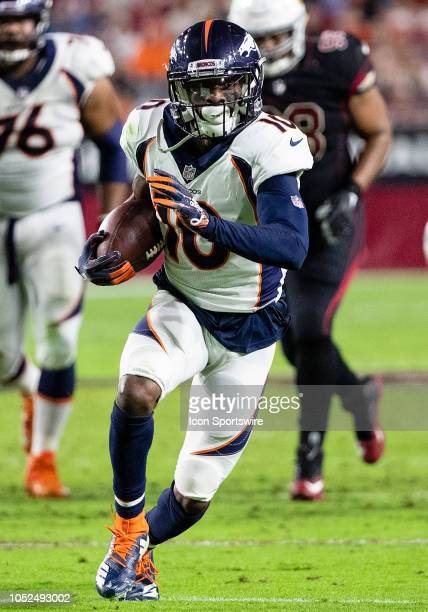 Denver Broncos wide receiver Emmanuel Sanders runs the ball upfield during NFL football game between the Arizona Cardinals and the Denver Broncos on...