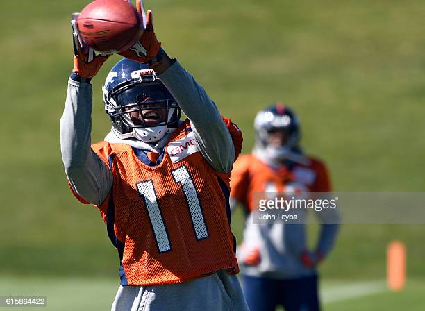 Denver Broncos wide receiver Jordan Norwood catches a pass during practice October 20 2016 at Dove Valley as they prepare for the Houston Texans on...