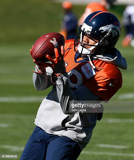 Denver Broncos wide receiver Kalif Raymond catches a pass during practice October 20 2016 at Dove Valley as they prepare for the Houston Texans on...