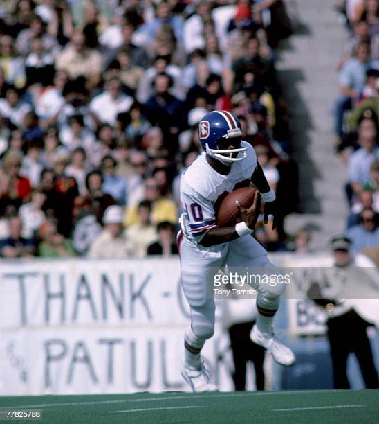 Denver Broncos wide receiver Rick Upchurch fields a kickoff during a 3814 loss to the Buffalo Bills on October 5 at Rich Stadium in Orchard Park New...