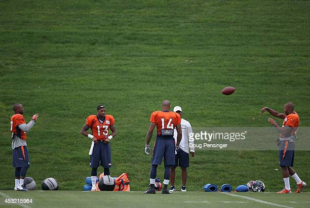 Denver Broncos wide receivers Greg Hardin, Nathan Palmer, Cody Latimer and Bennie Fowler prepare for practice at the Paul D. Bowlen Memorial Broncos...