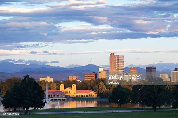 Denver city park and skyline with a cloudy sky