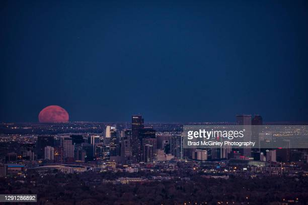 denver cityscape full moon rise - denver stock pictures, royalty-free photos & images