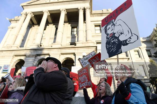 Denver Classroom Teachers Association teachers and supporters rally at the Colorado State Capitol demanding better wages and urging the state not to...