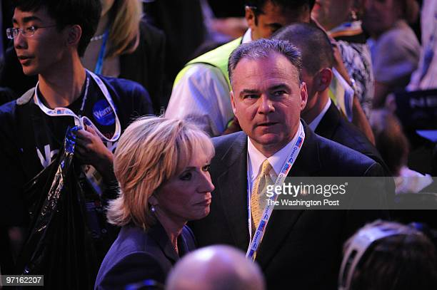 Denver CO Day 2/ The second night of the DNC Virginia Governor Tim Kaine talks with Andrea Mitchell of NBC news