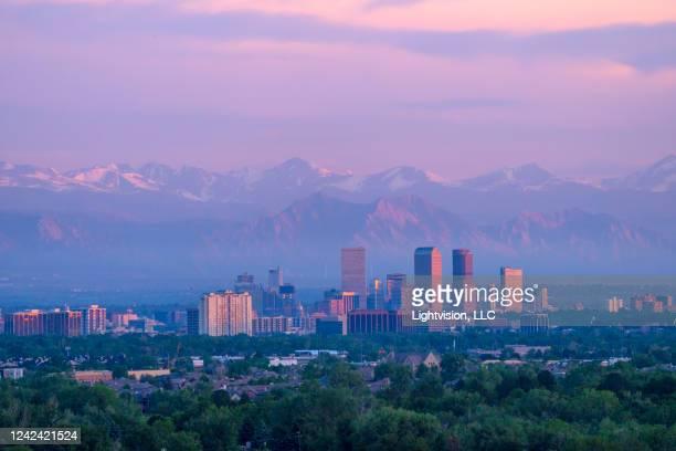 denver downtown skyline, colorado - denver stock pictures, royalty-free photos & images