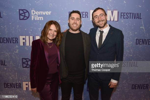 """Denver Film Festival Director Britta Erickson with """"Waves"""" Director Trey Edward Shults and DFF Artistic Director Matthew Campbell on the red carpet..."""