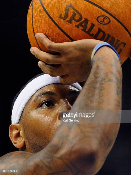 Denver forward Carmelo Anthony aimed a freethrow in the second half Friday night The Denver Nuggets defeated the Portland Trail Blazers 10999 in a...