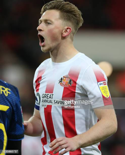 Denver Hume of Sunderland during the Papa John's Trophy match between Sunderland and Manchester United at Stadium of Light on October 13, 2021 in...