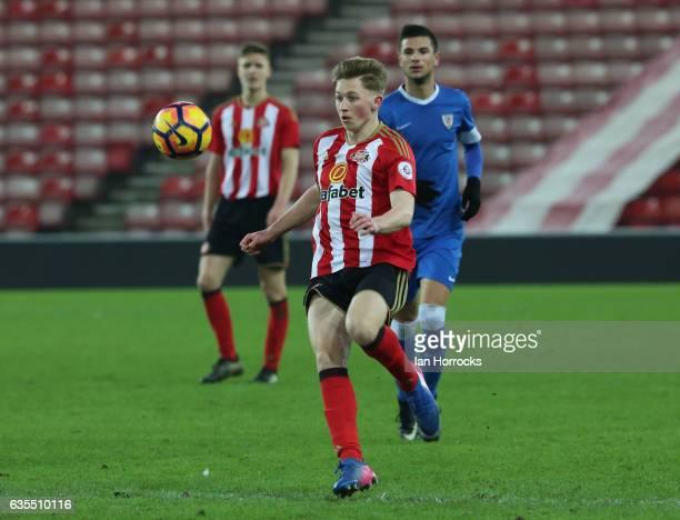 Denver Hume of Sunderland during the Premier League International Cup Quarter Final match between Sunderland U23 and Athletic Bilbao U23 at the...