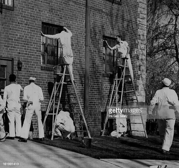 4291949 Denver Juvenile Hall On top of ladders = Vernon Gates Harold Rose Standing = Kenny Baker Glen Johnson Mike Huss Harold Mann