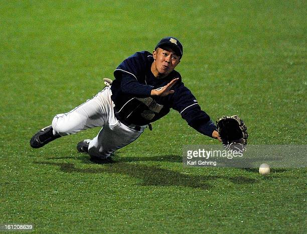Denver Lutheran outfielder Angel Luna made a diving attempt on ball off the bat of Falcon's batter Taylor Bigandt in the fourth inning The Denver...