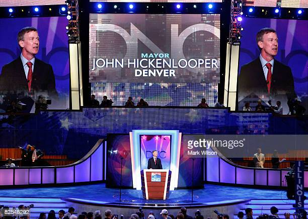Denver Mayor John Hickenlooper addresses the crowd during day one of the Democratic National Convention at the Pepsi Center August 25 2008 in Denver...