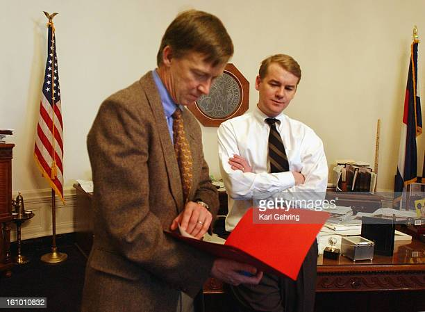 Denver Mayor John Hickenlooper <cq> and chief of staff Michael Bennet <cq> talked after the cabinet meeting Friday morning Hickenlooper has assembled...