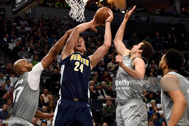 Denver Nuggets center Mason Plumlee fouled at the basket as the Denver Nuggets in a winnertakeall regularseason finale vs the Minnesota Timberwolves...