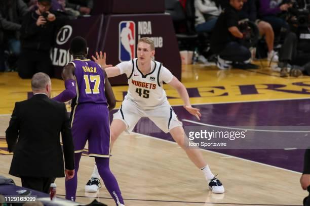 Denver Nuggets Center Thomas Welsh guarding Los Angeles Lakers Guard Isaac Bonga during the Denver Nuggets game versus the Los Angeles Lakers on...