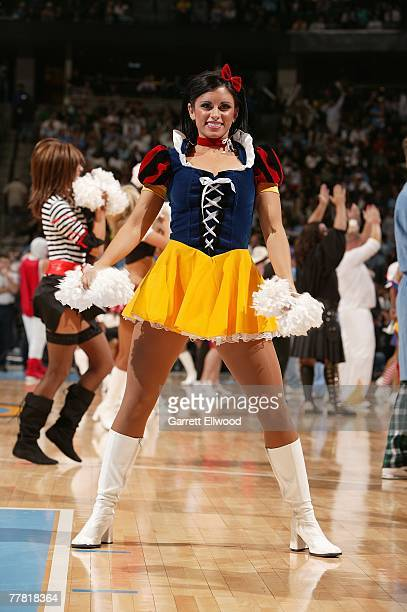 Denver Nuggets cheerleader performs during the game against the Seattle Supersonics on October 31 2007 at the Pepsi Center in Denver Colorado The...