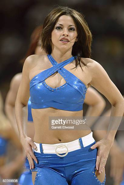 Denver Nuggets Dancer Annette Bancroft performs during the game against the Golden State Warriors on February 5 2005 at the Pepsi Center in Denver...