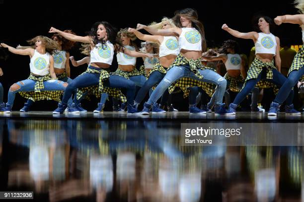 Denver Nuggets dancers perform during the game against the Dallas Mavericks on January 27 2018 at the Pepsi Center in Denver Colorado NOTE TO USER...