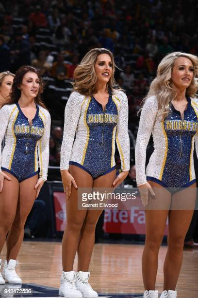 Denver Nuggets dancers perform during the game against the Minnesota Timberwolves on April 5 2018 at the Pepsi Center in Denver Colorado NOTE TO USER...
