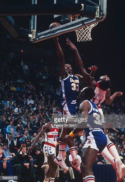Denver Nuggets' David Thompson jumps for a layup during a game against the Washington Bullets at Capital Centre circa 1979 in Washington, D.C.. NOTE...