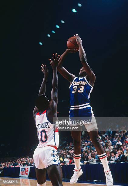 Denver Nuggets' David Thompson makes a jumpshot from the corner during a game against the Washington Bullets at Capital Centre circa 1977 in...