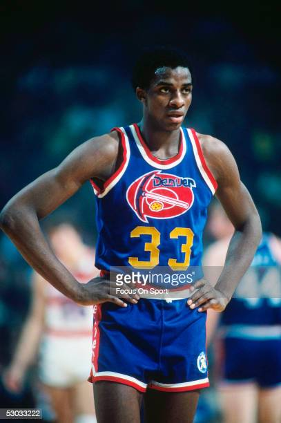 Denver Nuggets' David Thompson stands on the court during a game against the Washington Bullets at Capital Centre circa 1978 in Washington DC NOTE TO...