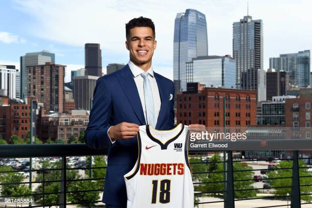 Denver Nuggets draft pick Michael Porter Jr poses for a photo during a press conference on June 22 2018 at the Pepsi Center in Denver Colorado NOTE...