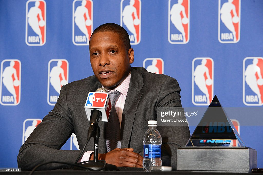 Denver Nuggets Executive Vice President of Basketball Operations Masai Ujiri speaks to the media after being named 2012-2013 NBA Executive of the Year on May 9, 2013 at the Pepsi Center in Denver, Colorado.