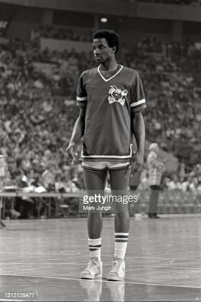 Denver Nuggets forward David Thompson stands at the free throw line in his warmup jersey prior to an ABA basketball game against the St. Louis...