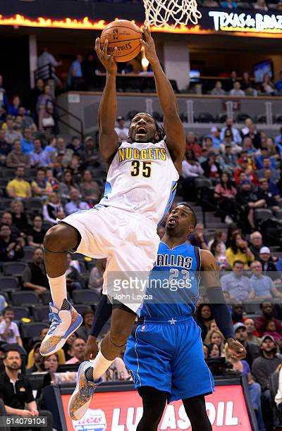 Denver Nuggets forward Kenneth Faried goes up for a basket past Dallas Mavericks guard Wesley Matthews during the first quarter March 6 2016 at Pepsi...