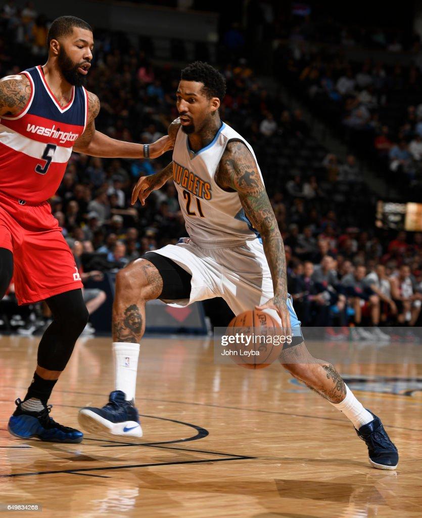 Denver Nuggets X Washington Wizards: Denver Nuggets Forward Wilson Chandler Drives On