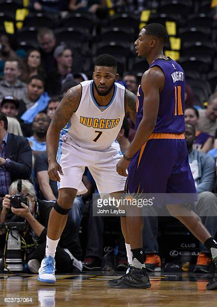 Denver Nuggets guard Alonzo Gee guards Phoenix Suns guard Brandon Knight during the third quarter November 16 2016 at Pepsi Center