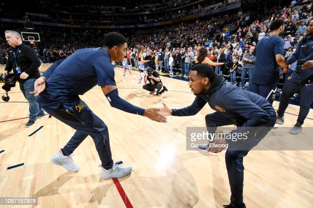 Denver Nuggets guard Gary Harris celebrates with teammates prior to the game against the Utah Jazz on November 3, 2018 at the Pepsi Center in Denver,...