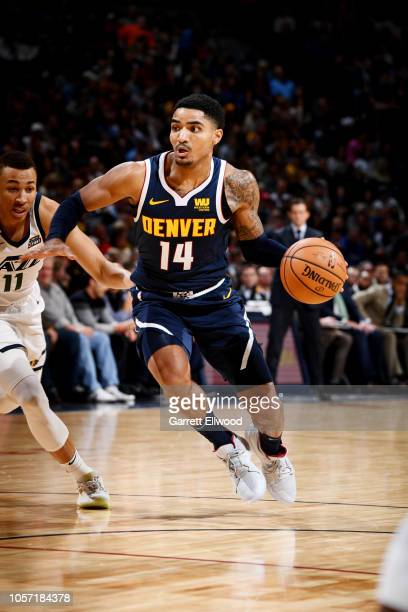 Denver Nuggets guard Gary Harris drives to the basket against the Utah Jazz on November 3, 2018 at the Pepsi Center in Denver, Colorado. NOTE TO...