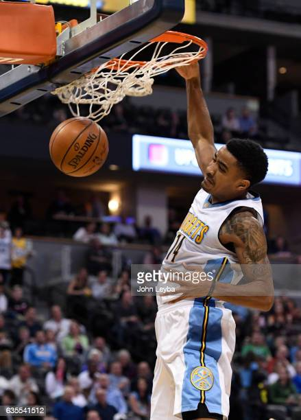 Denver Nuggets guard Gary Harris goes up for a dunk during the second quarter against the Minnesota Timberwolves February 15 2017 at Pepsi Center