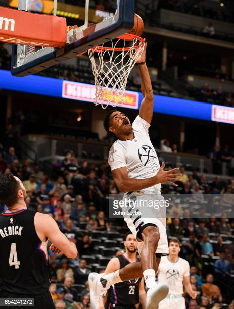 Denver Nuggets guard Gary Harris goes up for a layup against the Los Angeles Clippers during the first quarter on March 16 2017 in Denver Colorado at...