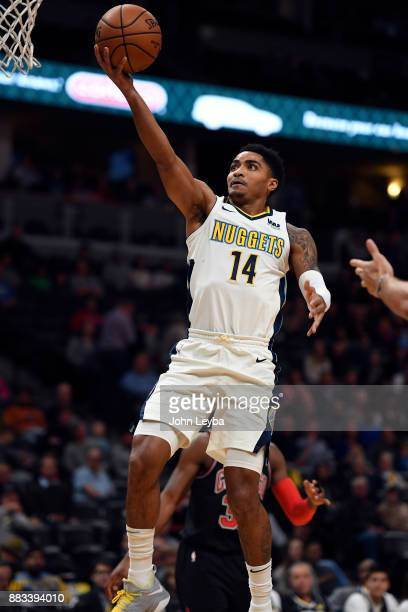 Denver Nuggets guard Gary Harris goes up for a layup during the first quarter against the Chicago Bulls on November 30 2017 in Denver Colorado at...