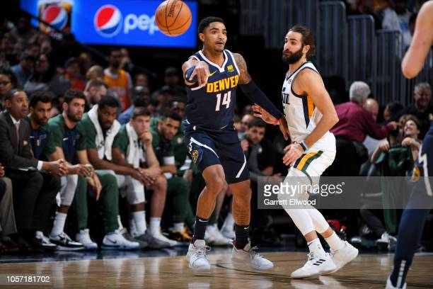 Denver Nuggets guard Gary Harris passes the ball during the game against the Utah Jazz on November 3, 2018 at the Pepsi Center in Denver, Colorado....