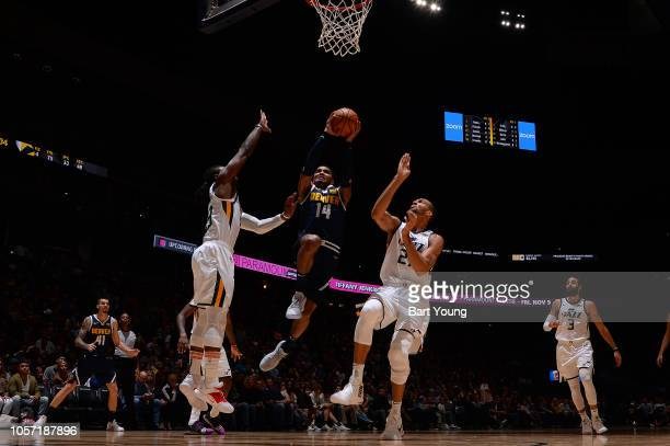 Denver Nuggets guard Gary Harris shoots the ball against the Utah Jazz on November 3, 2018 at the Pepsi Center in Denver, Colorado. NOTE TO USER:...