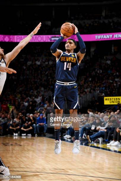 Denver Nuggets guard Gary Harris shoots the ball during the game against the Utah Jazz on November 3, 2018 at the Pepsi Center in Denver, Colorado....