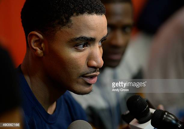 September 29: Denver Nuggets guard Gary Harris speaks to the press on the first day of Denver Nuggets training camp at the U.S. Olympic Training...